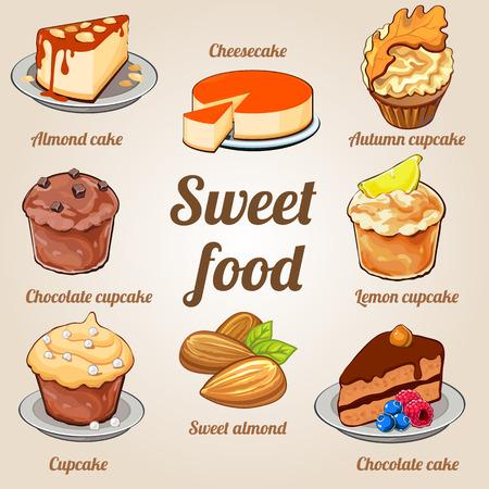 Acht leckere Kuchen und Törtchen in einem Set, süße Speisen Vektorgrafik