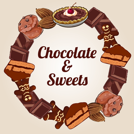 coffee shop: Circle of chocolate and other sweets, delicious label for your design needs