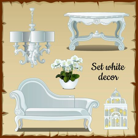 divan: Set of furniture in white classic style, five items Illustration