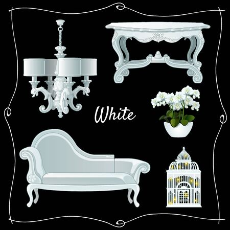 classic furniture: Set of luxury white classic furniture on a black background