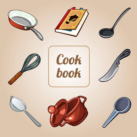 cookbook: Cookbook set, 8 vector icons of dishes Illustration