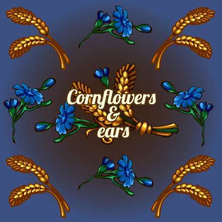 caryopsis: Bright vector wallpaper with cornflowers and ears Illustration