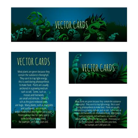 vegetation: Set of cards with the original background of the unusual vegetation