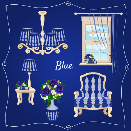 retro cartoon: Set of classic furniture, five individual objects in blue Illustration