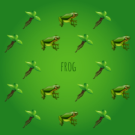 croaking: Green background with frog and unusual green flower Illustration