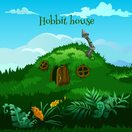 Vector fairy hobbit house in the meadow Çizim