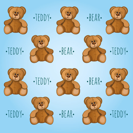 teddy bear love: Blue vector background with cute Teddy bears