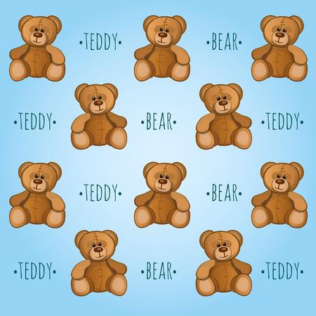 osos de peluche: vector de fondo azul con osos de peluche lindos Vectores