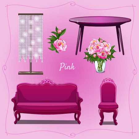 luxury furniture: Luxury furniture and floral decorations for some place Illustration