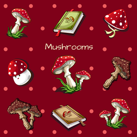 pores: Vector red background with mushrooms and book