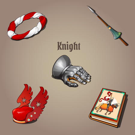 honor guard: Knight set, part of the vestments, five vector items Illustration