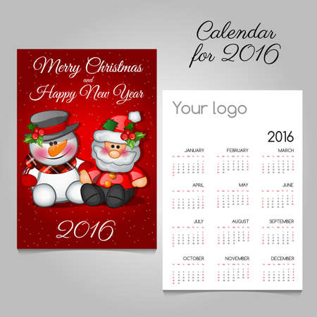 advent calendar: Vintage advent calendar 2016 with Santa and snowman Illustration