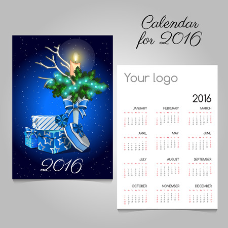 christmas night: Calendar with vintage image of Christmas symbols in blue Illustration