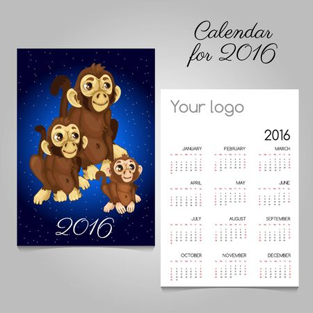 commemorative: Two-sided calendar with symbol of the year monkeys Illustration