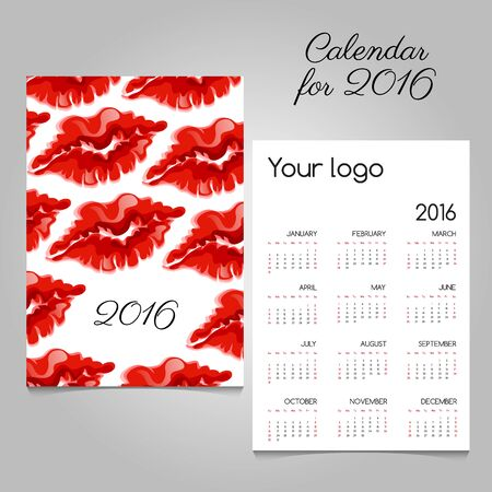 commemorative: Bright calendar with image of the lip prints of red lipstick Illustration
