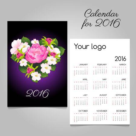 amur: Stylish calendar 2016 with bouquet in heart shape Illustration