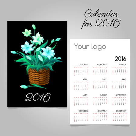 commemorate: Calendar 2016 with magic flowers in a wicker basket Illustration