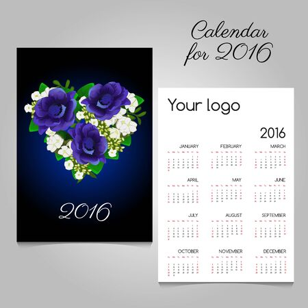 commemorative: Calendar with a bouquet of blue flowers in heart shape
