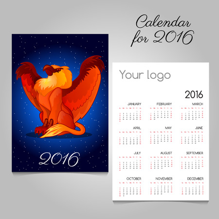 griffon: Bright calendar 2016 with Griffon decoration Illustration