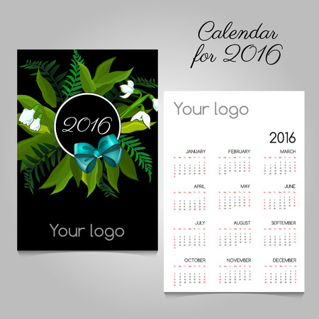 commemorate: Stylized calendar 2016 with floral and bow, space for logo