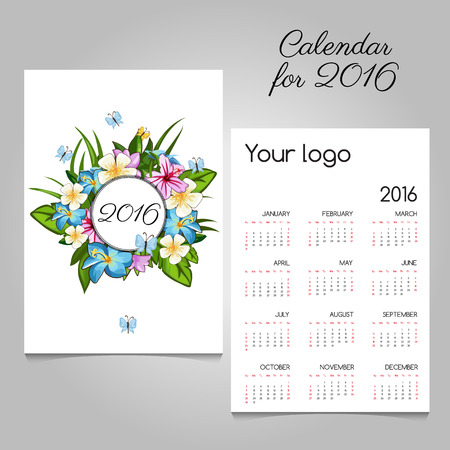 butterfly stationary: calendar 2016 with floral ornament and butterflies
