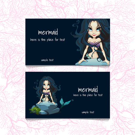 sea nymph: Two blue cards with mermaids and the text on the background of corals