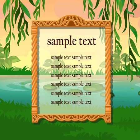 blank banner: Poster with space for text on the background of nature and lakes Illustration