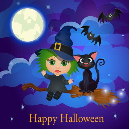 green hair: Cartoon witch and cat flying on a broom under the moon