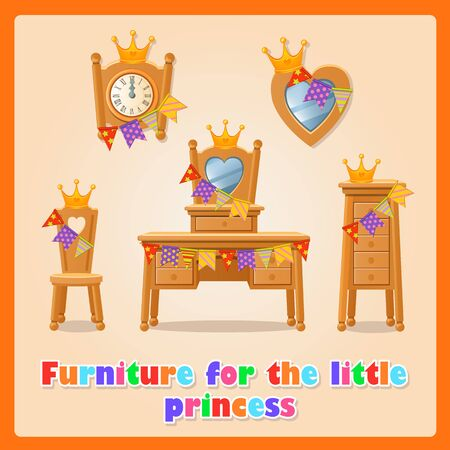 wooden furniture: Wooden furniture for the little Princess and her family Illustration