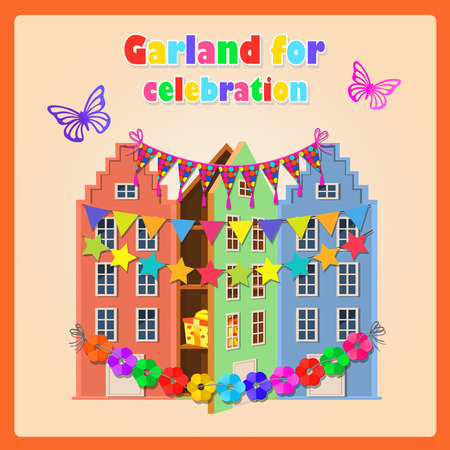 old houses: Old houses, gift and festive garland, decoration on your holiday