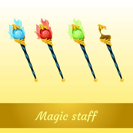 bewitched: Vector set of magic tools magician, four scepters