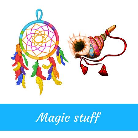 shamanic: Two Native American and shamanic magical supplies Illustration