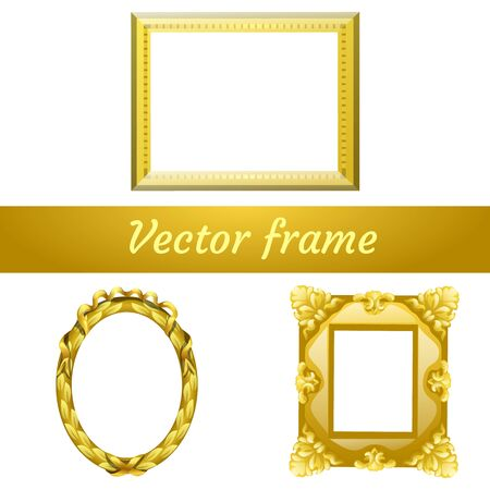 Set of three gold vector empty frame for your design needs