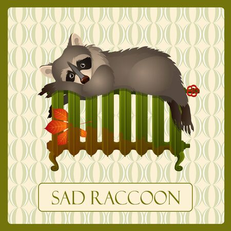 come back: Lonely sad raccoon on the battery, character with emotion Illustration