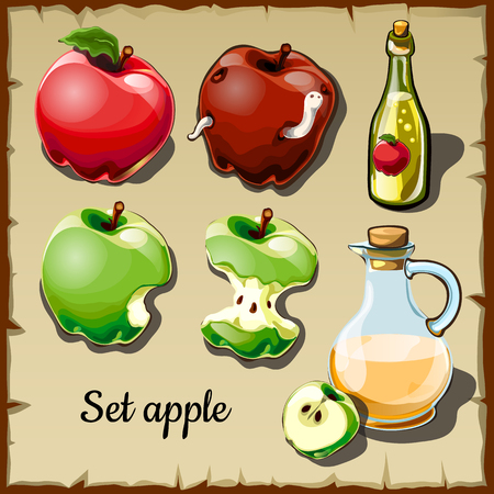 Vector set of red and green apples, and drinks of them