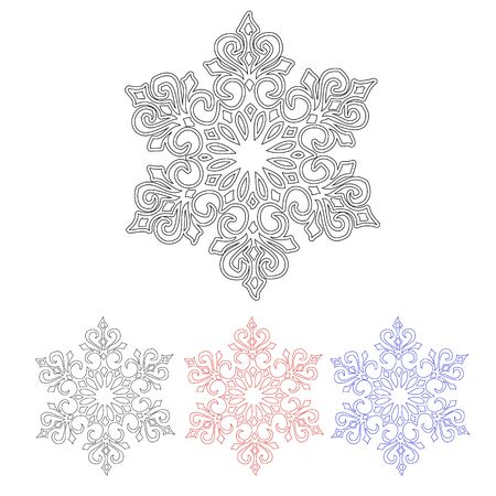four pattern: Set of four isolated pattern snowflakes in different colors Illustration