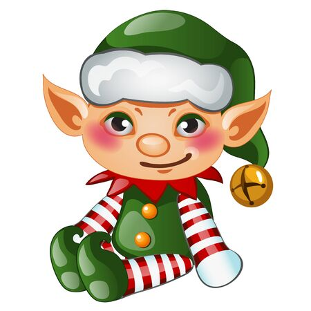 christmas fairy: Cute boy elf in green costume, isolated character for your needs Illustration