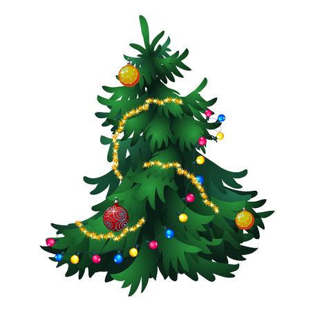 Tanne Weihnachten mit Dekorationen, isoliert Vektor- Vektorgrafik
