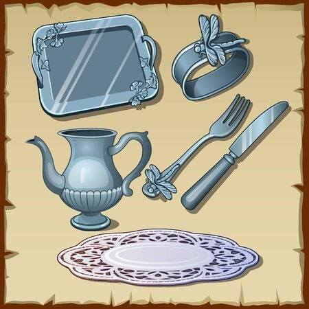 banket: Classic silver dining tableware, set of six vector items Illustration