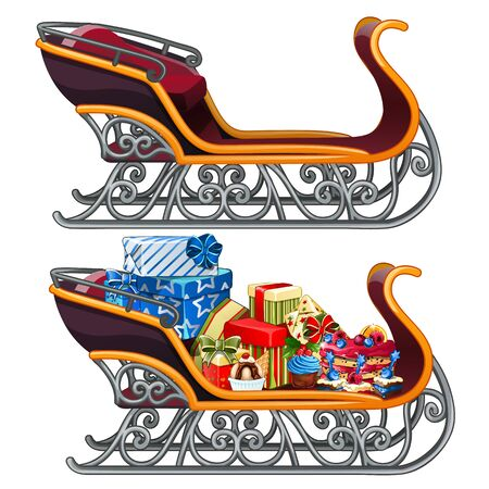 christmas gifts: Sleigh filled with Christmas gifts, vector isolated Illustration