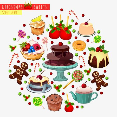 fruitcakes: Big vector set of different sweets for Christmas Illustration