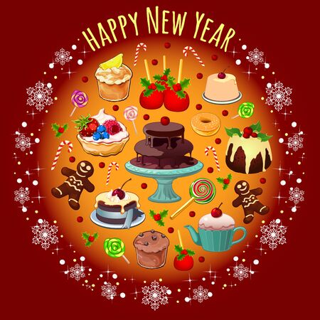 fruitcakes: Vector postcard with treats and greetings for the new year