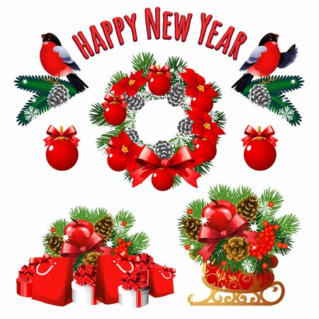 pine apple: Christmas and new year set of decoration, gifts, and other symbols