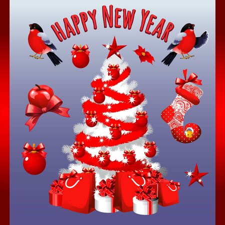 Poster with white tree and other Christmas symbols for your design needs