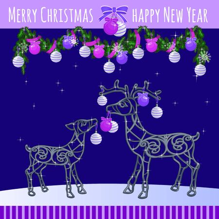 holidays family: Reindeer family with Christmas balls and garland, greeting card Illustration