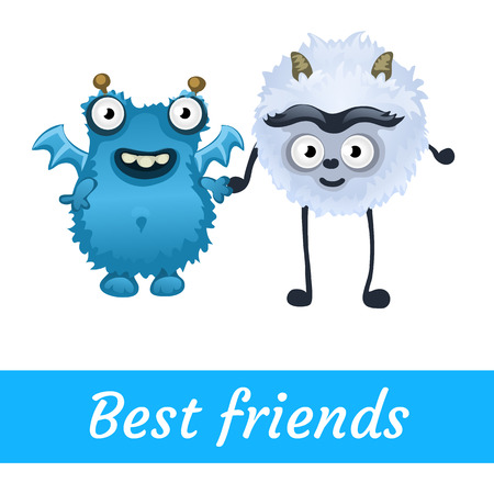 toon: Two best friends, white and blue mutant vector toon