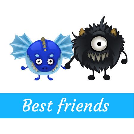 funny monster: Two vector funny monster isolated, best friend Stock Photo