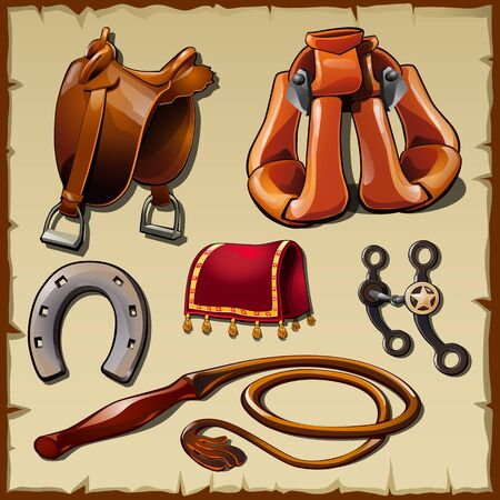 stirrup: Equipment of the rider, ready for adventure. Six items