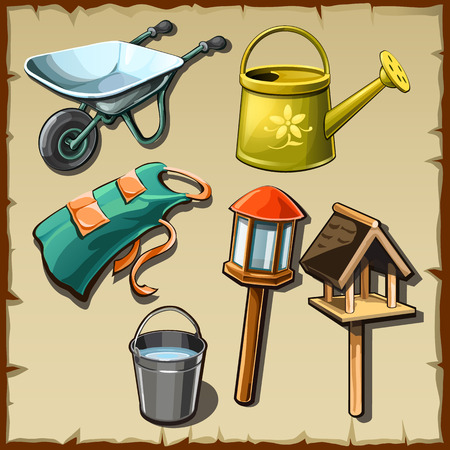 Garden tools and decorations on the plot, big vector set