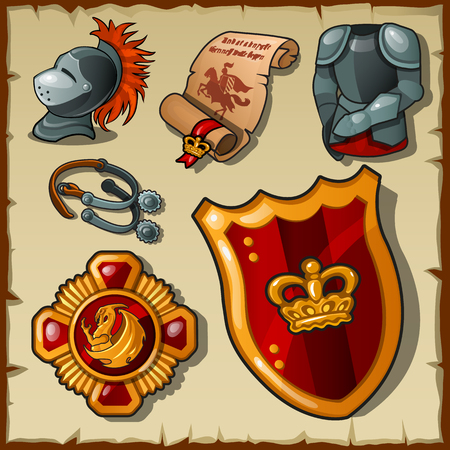 vestment: Knight vector set, uniforms and symbols on a parchment background Illustration